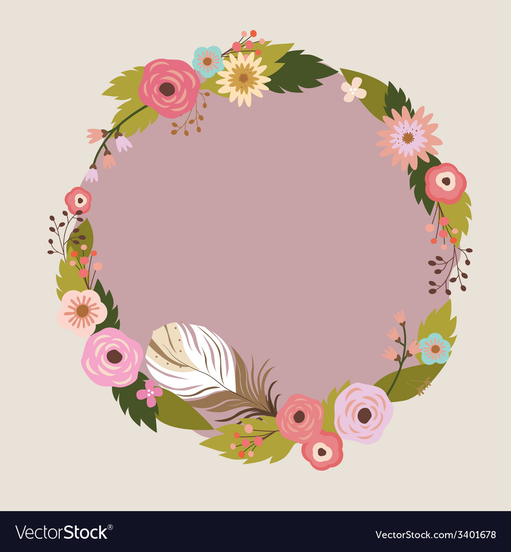 Floral wreath with feather vector | Price: 1 Credit (USD $1)