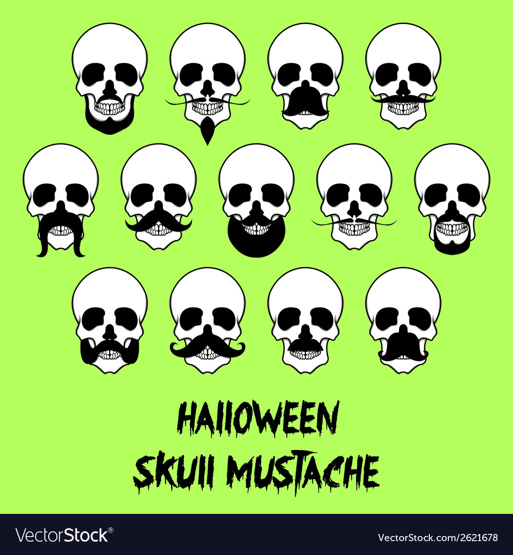 Halloween skull mustache vector | Price: 1 Credit (USD $1)