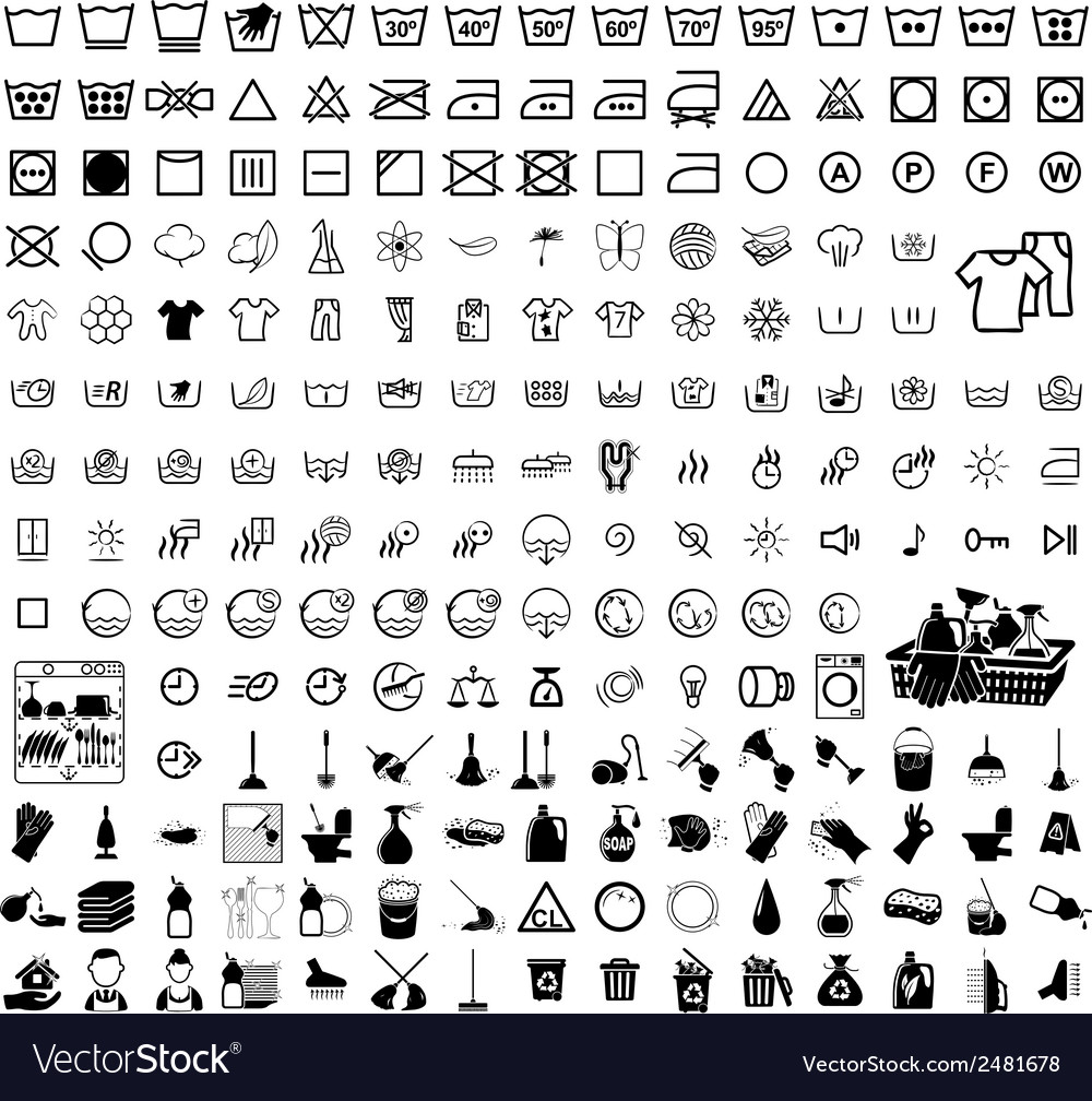Laundry washer cleaning icons vector | Price: 1 Credit (USD $1)