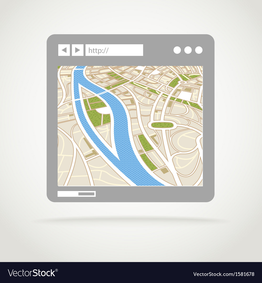 Modern web browser window with a map vector   Price: 1 Credit (USD $1)