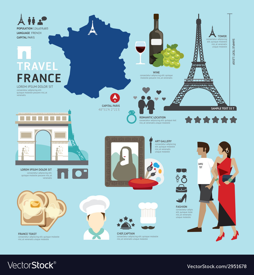 Paris france flat icons design travel concept vector | Price: 1 Credit (USD $1)