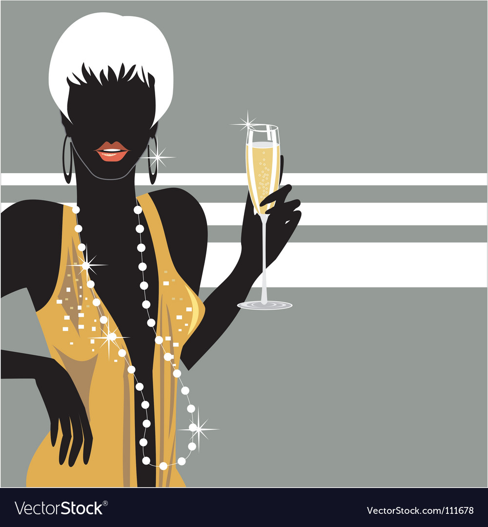 Party girl with champagne vector | Price: 1 Credit (USD $1)
