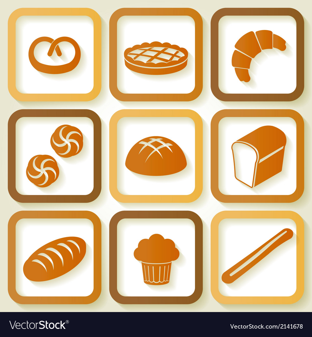 Set of 9 retro icons of fresh bread vector | Price: 1 Credit (USD $1)