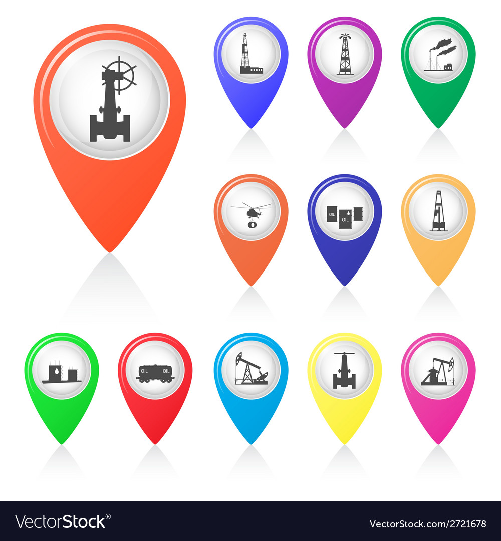 Set of silhouettes of oil industry in map markers vector | Price: 1 Credit (USD $1)