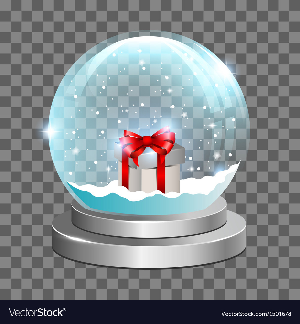 Snow globe with gift box vector | Price: 3 Credit (USD $3)