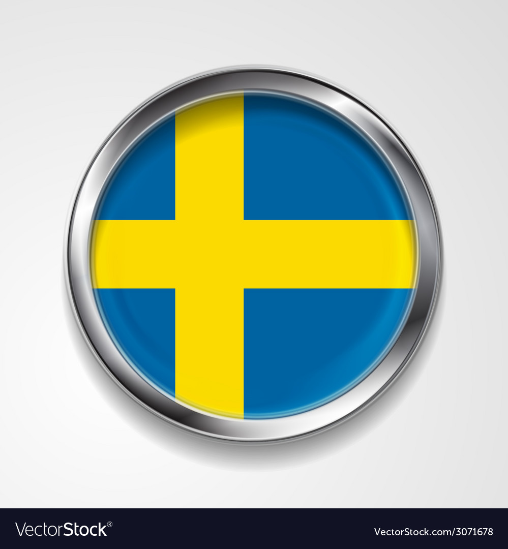 Swedish metal button flag vector | Price: 1 Credit (USD $1)