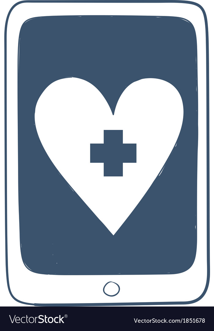 Tablet or smartphone with red cross heart emblem vector | Price: 1 Credit (USD $1)