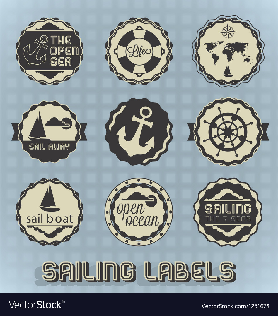 Vintage style sailing labels vector | Price: 1 Credit (USD $1)