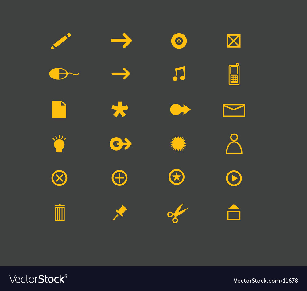 Website icons in yellow vector | Price: 1 Credit (USD $1)