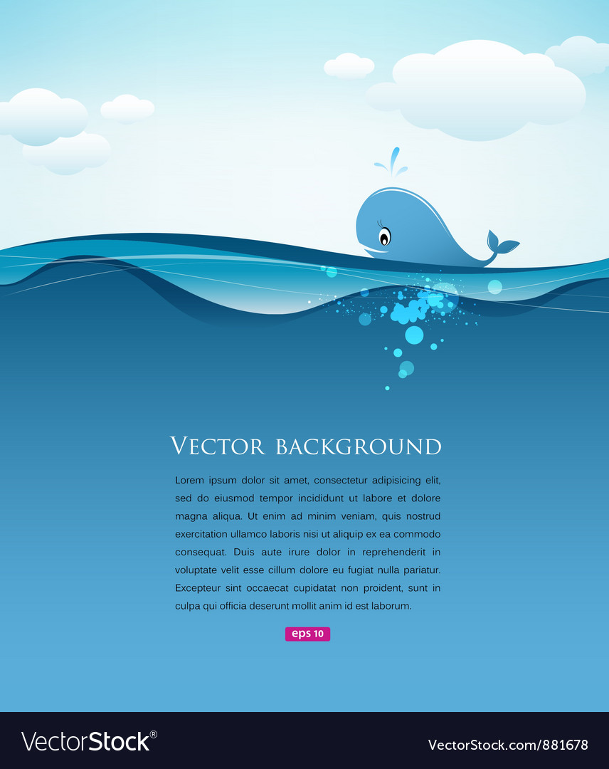 Whale in blue sea background vector | Price: 1 Credit (USD $1)