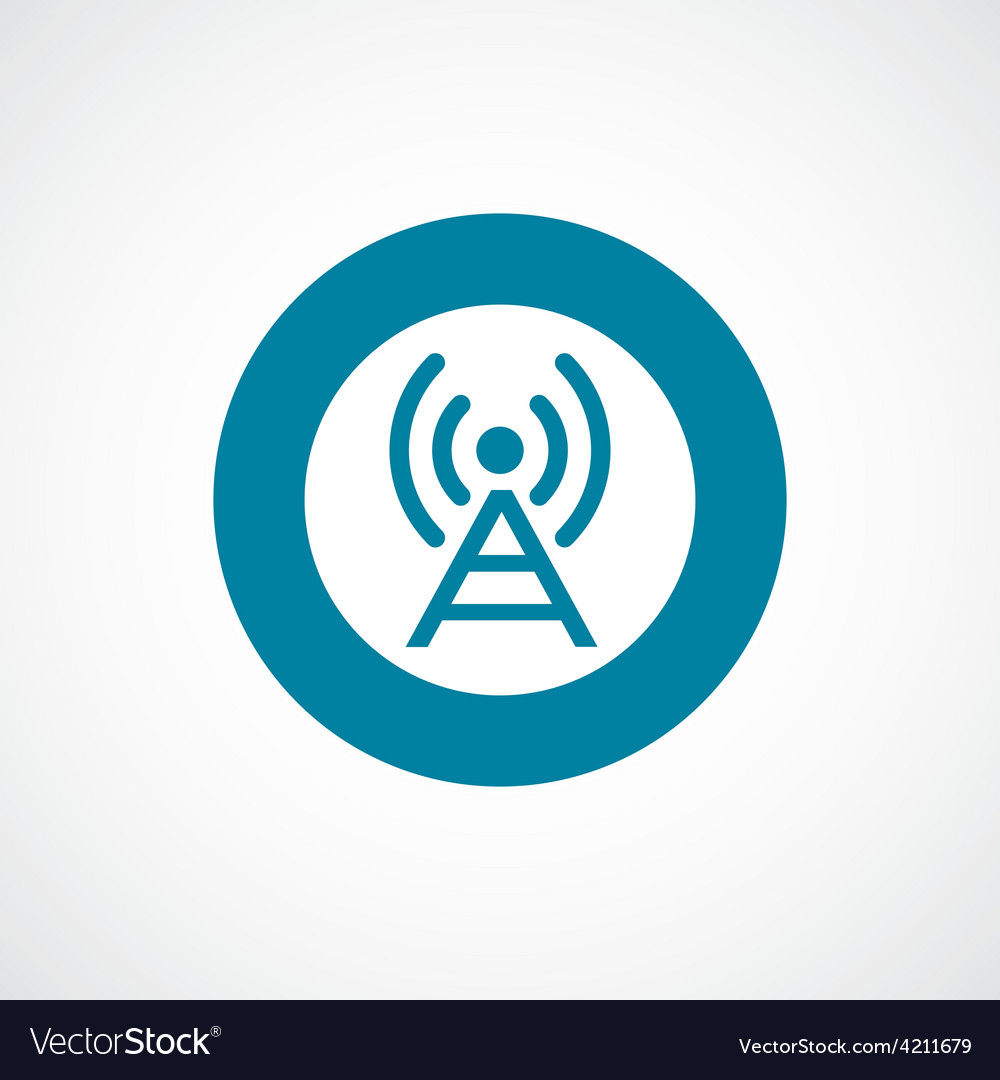 Antenna icon bold blue circle border vector | Price: 1 Credit (USD $1)