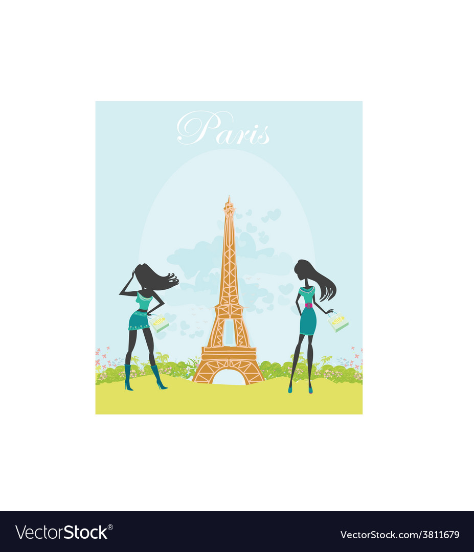 Beautiful fasihon girls silhouettes shopping in vector | Price: 1 Credit (USD $1)