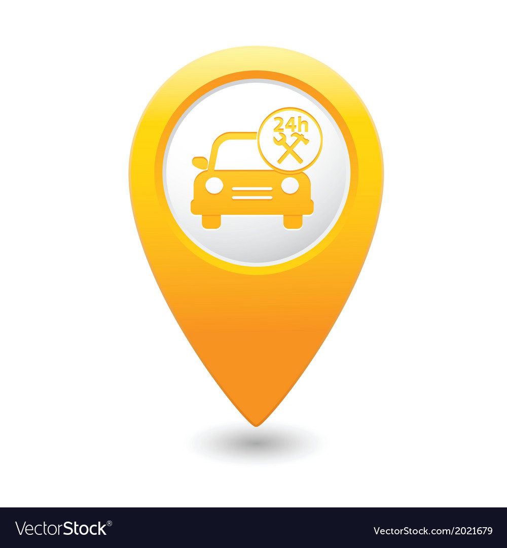 Car with tools icon map pointer yellow vector | Price: 1 Credit (USD $1)