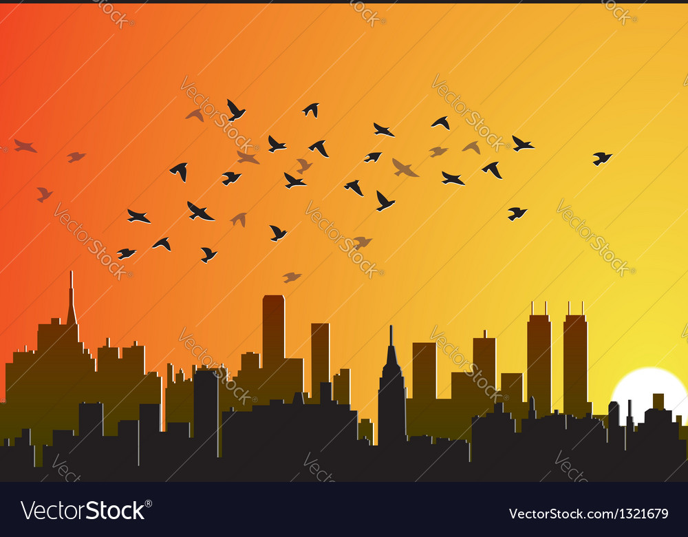 City background with flying birds vector | Price: 1 Credit (USD $1)