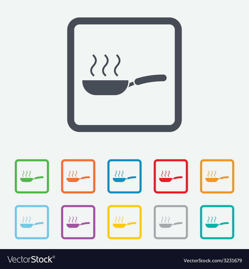 Frying pan sign icon fry or roast food symbol vector | Price: 1 Credit (USD $1)