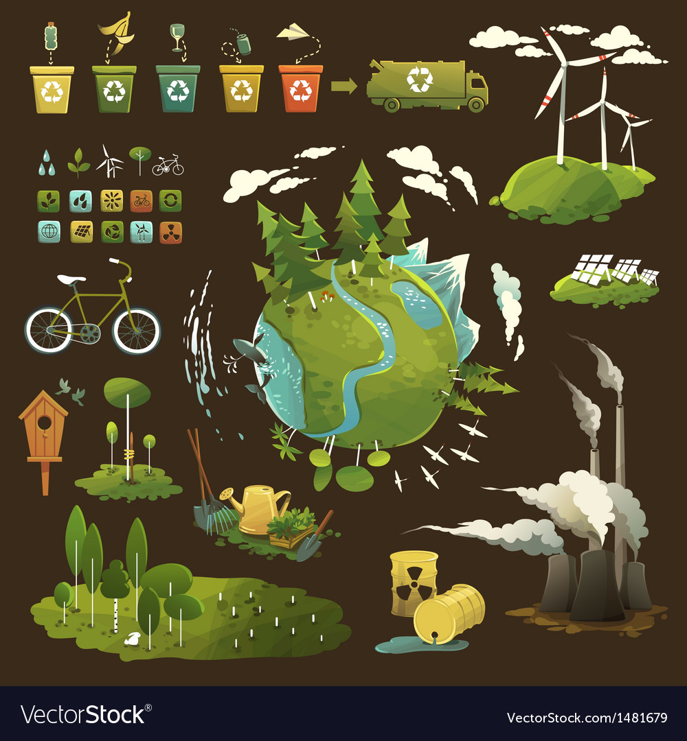 Green planet vector | Price: 3 Credit (USD $3)