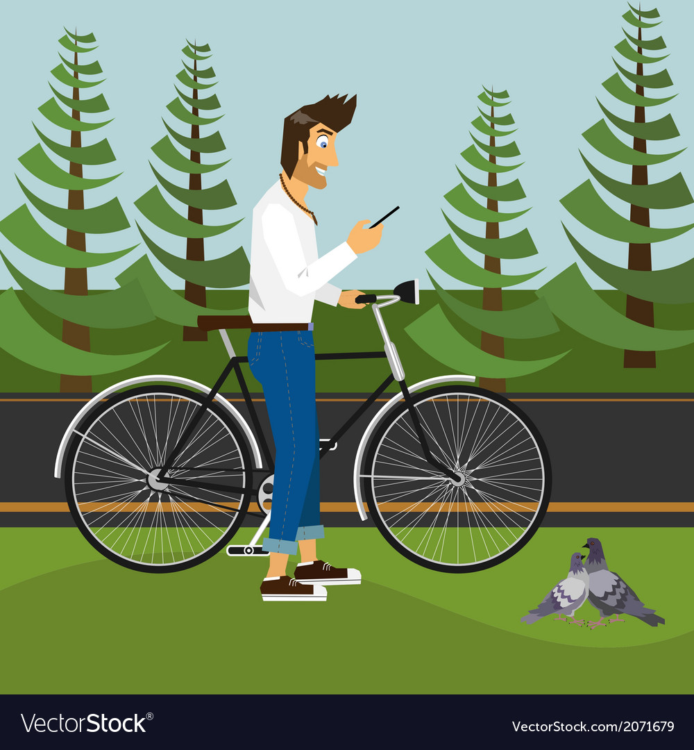 Handsome guy in the park vector | Price: 1 Credit (USD $1)