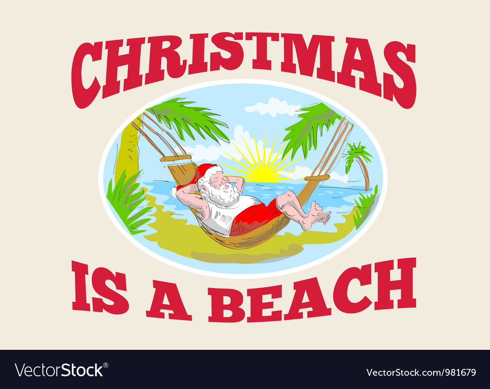 Santa claus father christmas beach relaxing vector | Price: 3 Credit (USD $3)