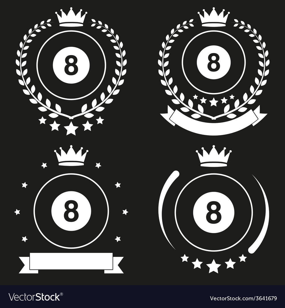 Set of vintage billiard club badge and label vector | Price: 1 Credit (USD $1)