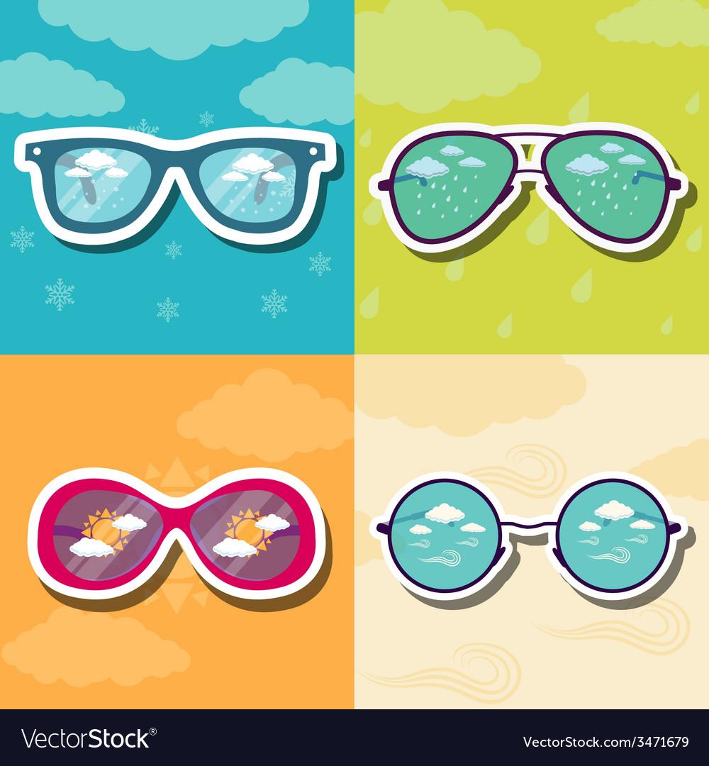 Set retro glasses background concept vector | Price: 1 Credit (USD $1)