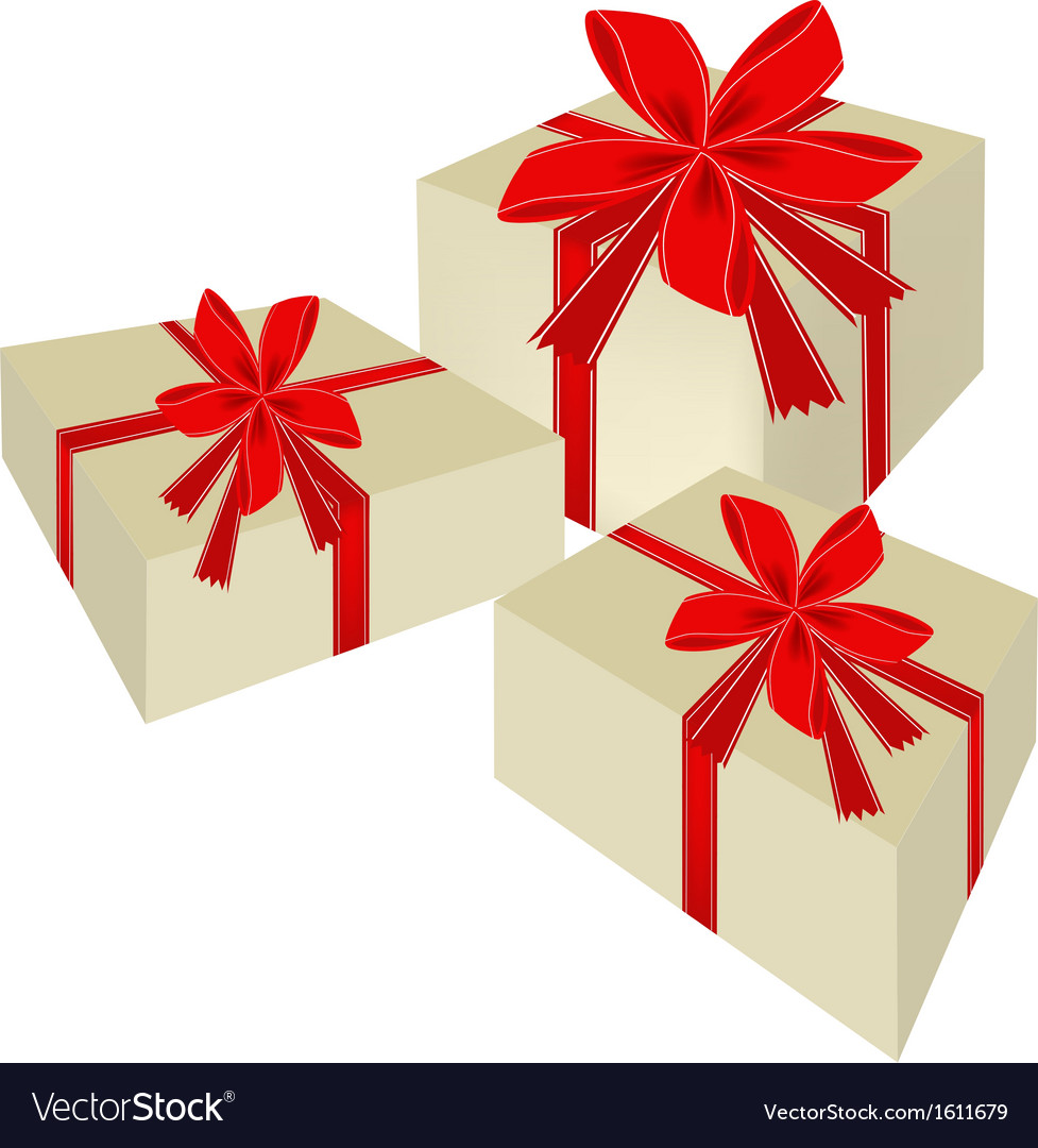 Three beautiful gift boxes with red ribbon vector | Price: 1 Credit (USD $1)
