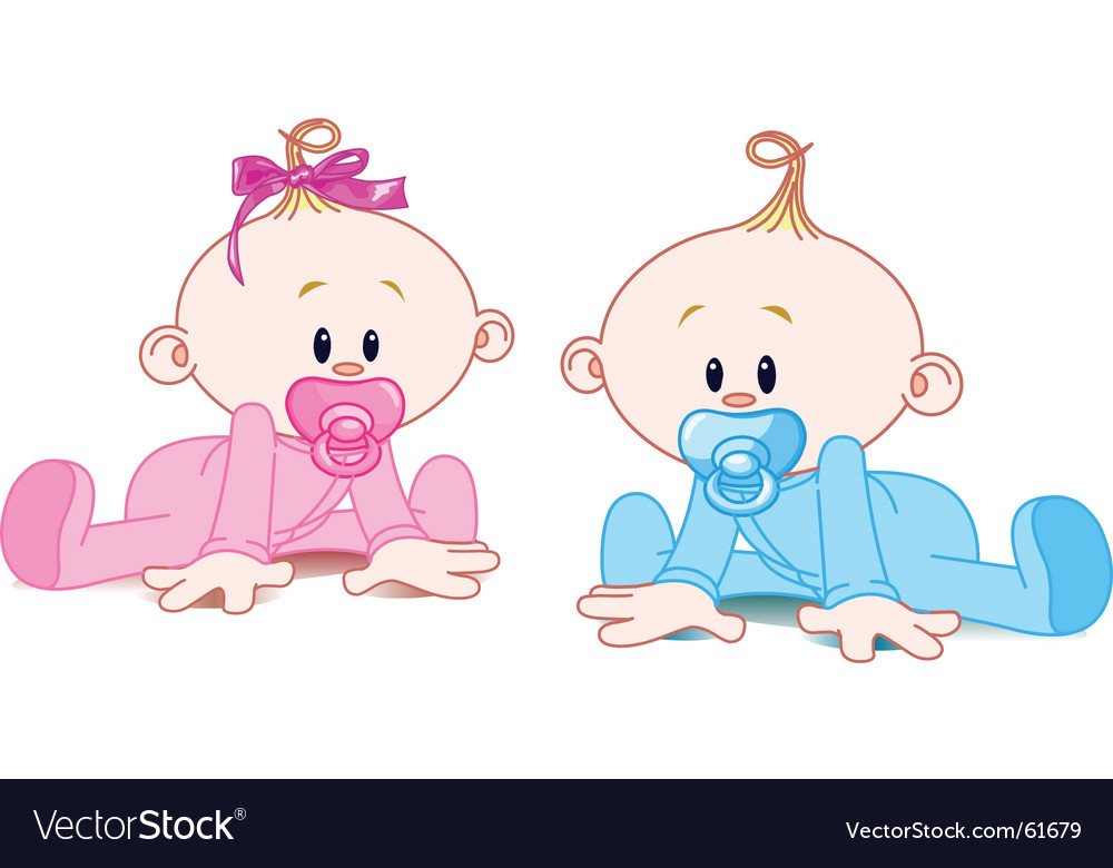 Two babies vector | Price: 1 Credit (USD $1)