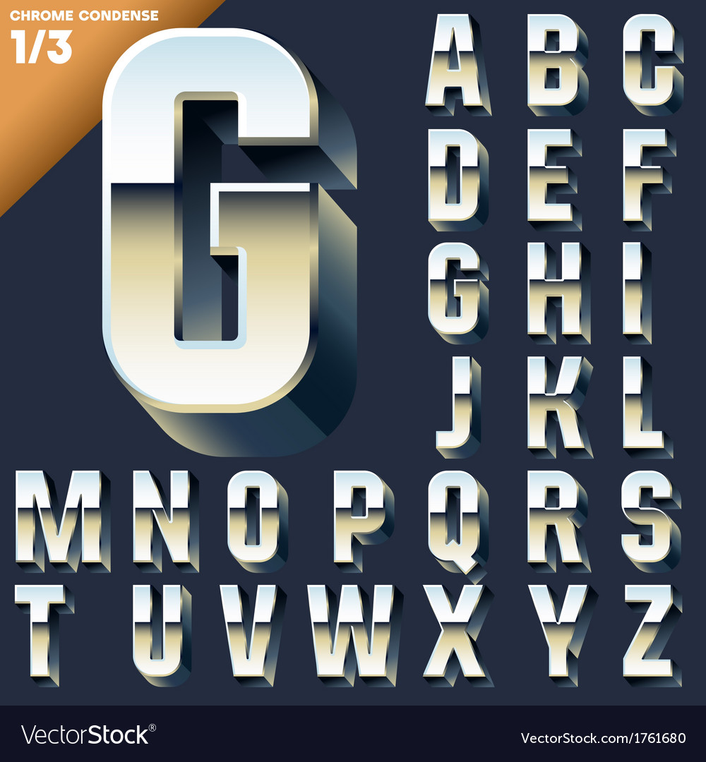 Alphabet of simple 3d letters vector