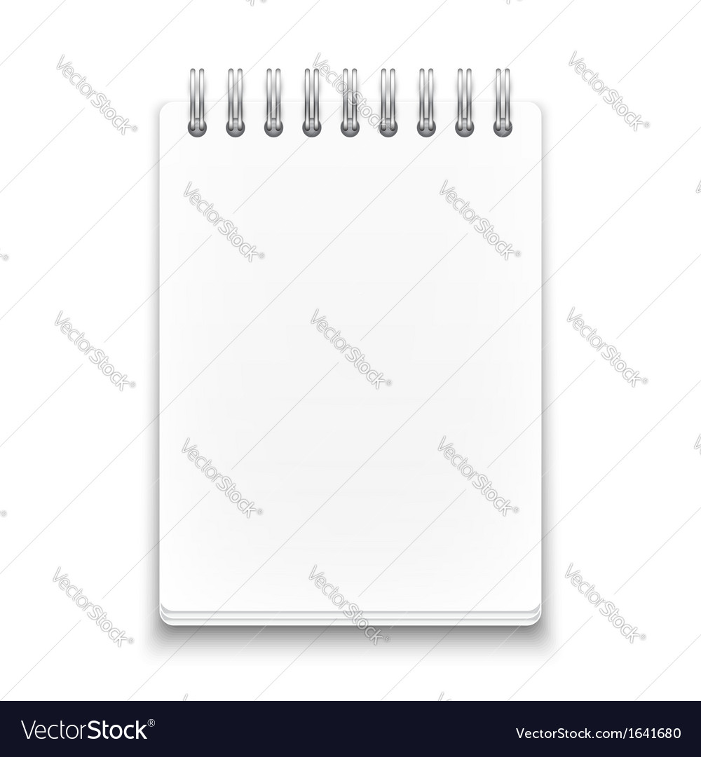 Blank spiral notebook on white background vector | Price: 1 Credit (USD $1)