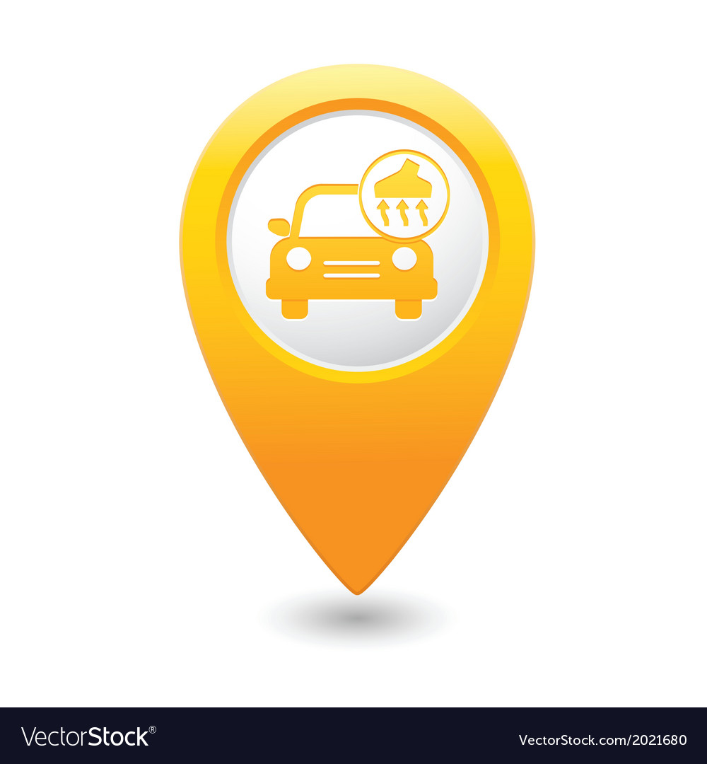 Car with vacuum cleaner icon map pointer yellow vector | Price: 1 Credit (USD $1)