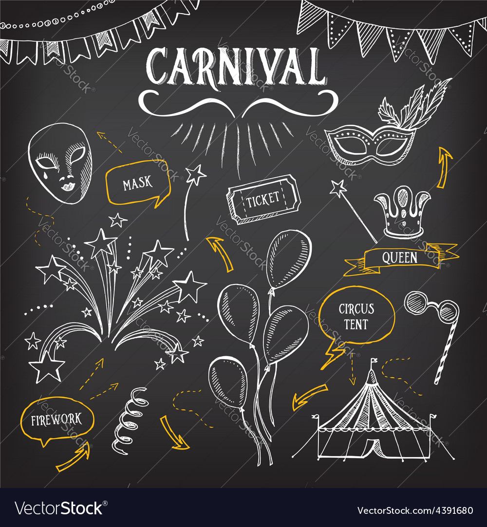 Carnival icons sketch design vector