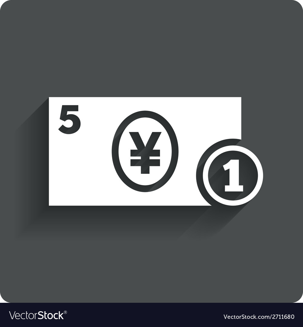 Cash sign icon yen money symbol coin vector | Price: 1 Credit (USD $1)