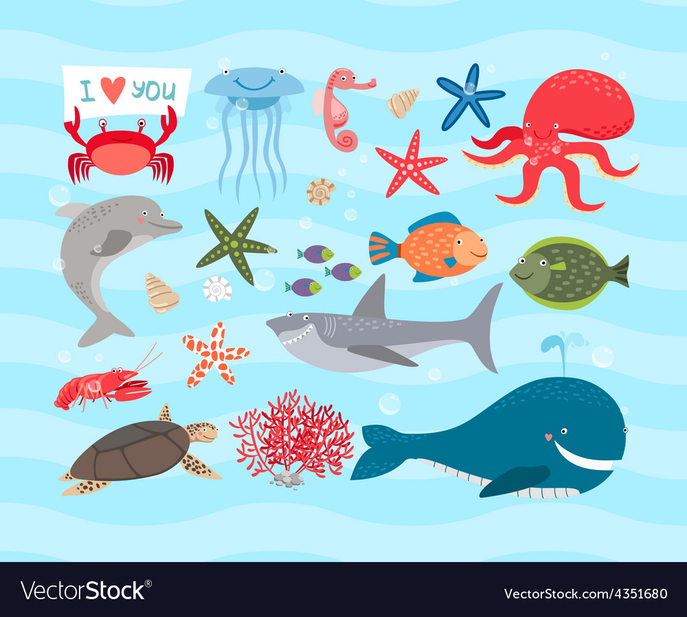 Cute sea animals dolphin and whale vector | Price: 1 Credit (USD $1)