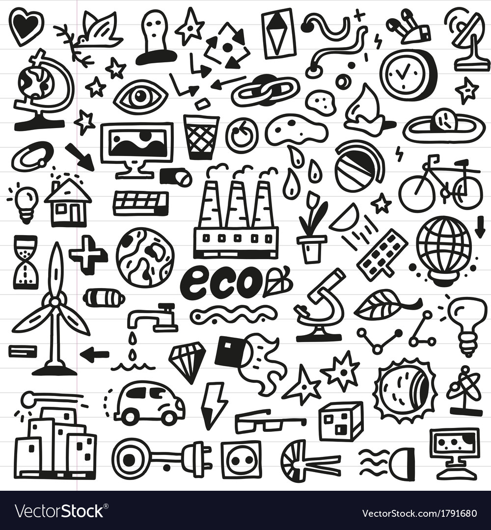 Ecology - doodles set vector | Price: 1 Credit (USD $1)