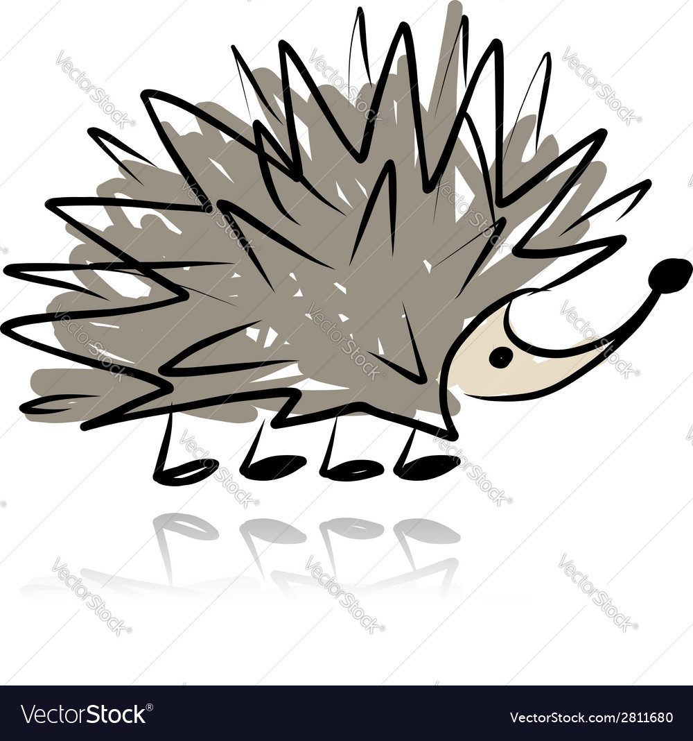 Funny hedgehog sketch for your design vector | Price: 1 Credit (USD $1)