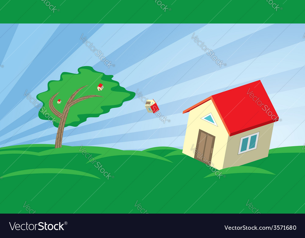 Growing house in the wind vector | Price: 1 Credit (USD $1)