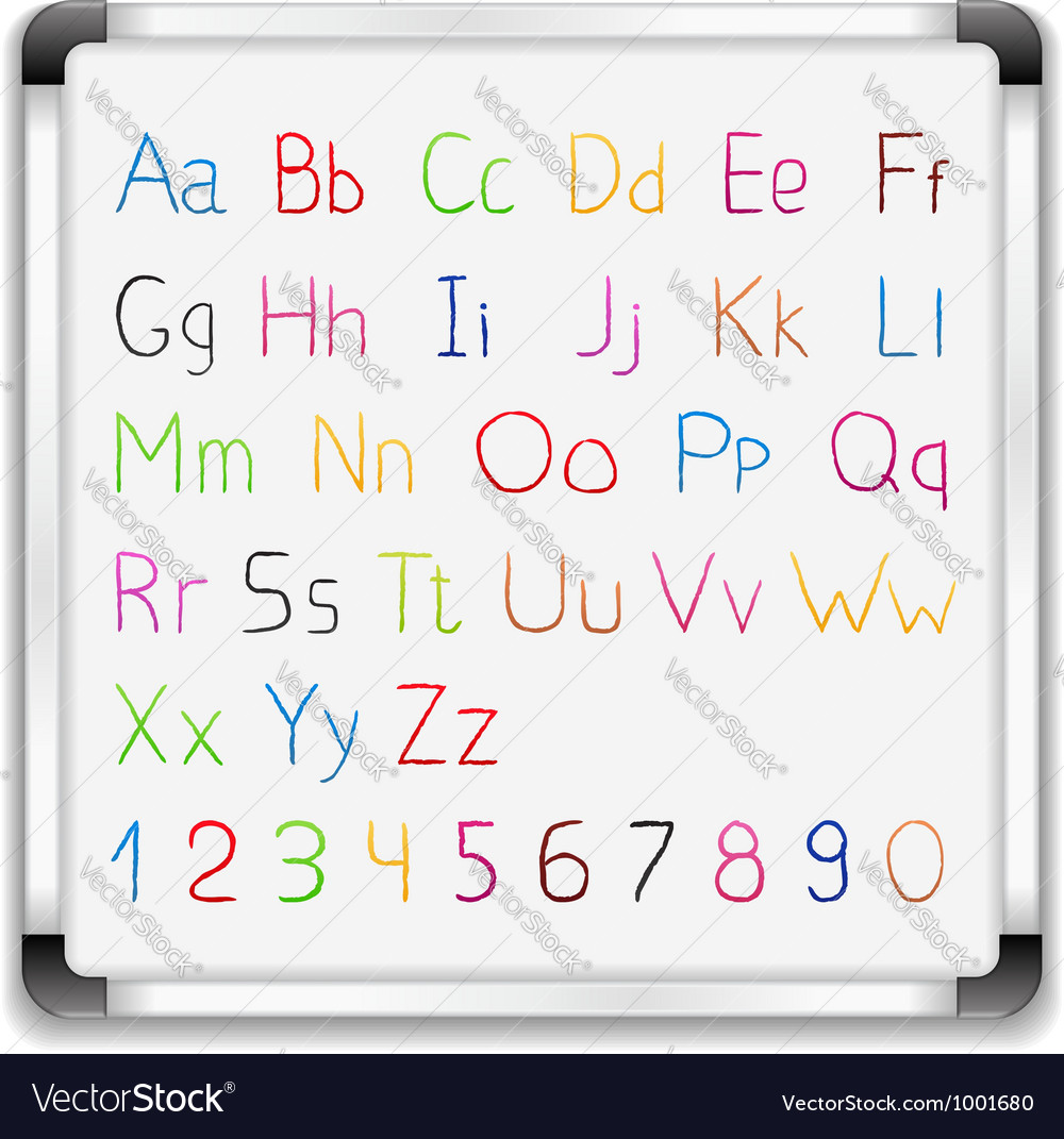 Hand drawn alphabet on whiteboard vector | Price: 1 Credit (USD $1)