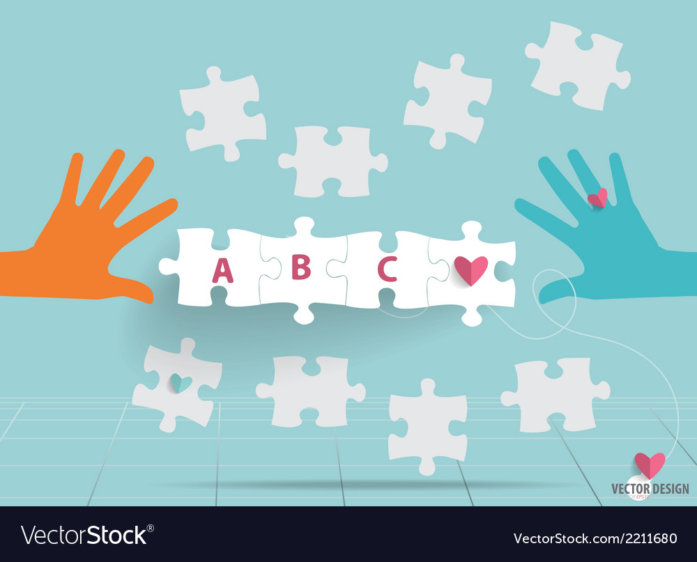 Hand with paper cut of puzzle vector | Price: 1 Credit (USD $1)