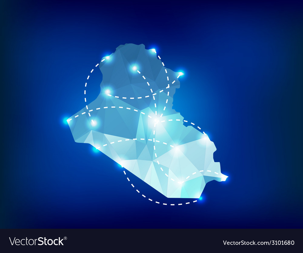 Iraq country map polygonal with spot lights places vector | Price: 1 Credit (USD $1)