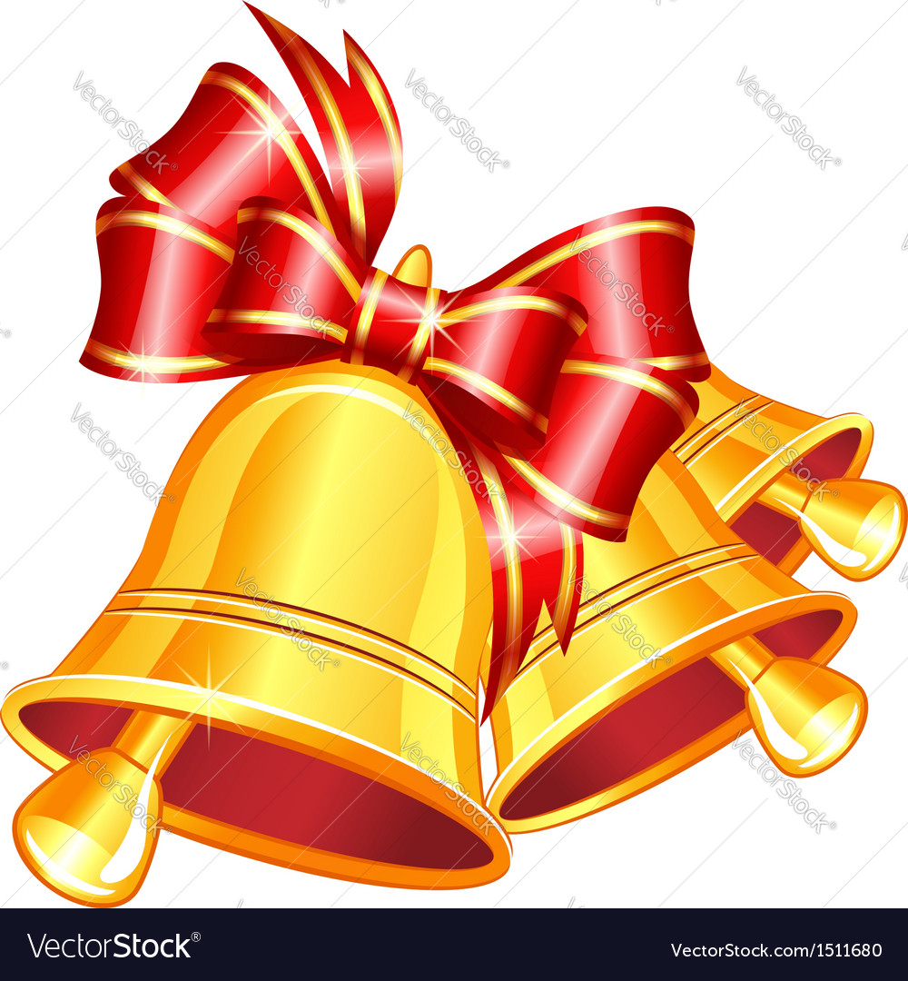 Jingle bells with red bow vector   Price: 1 Credit (USD $1)