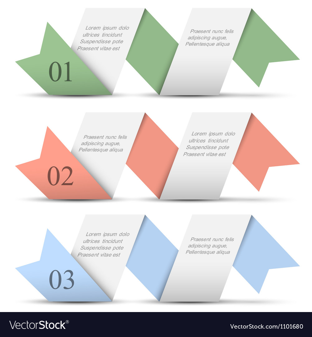 Origami paper numbered banners in pastel colors vector | Price: 1 Credit (USD $1)