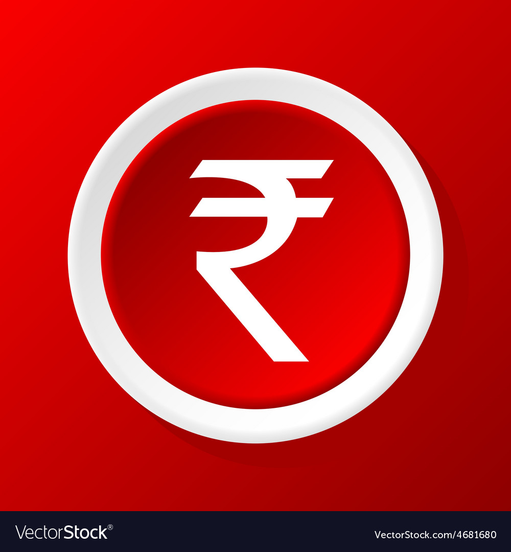 Rupee icon on red vector | Price: 1 Credit (USD $1)