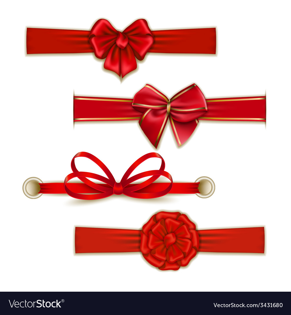 Set of elegant silk colored bows vector   Price: 1 Credit (USD $1)