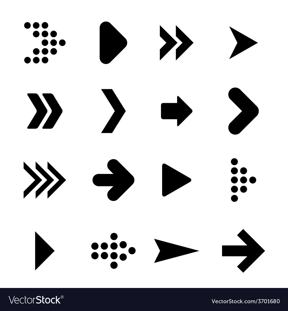 Set of silhouettes arrows vector | Price: 1 Credit (USD $1)