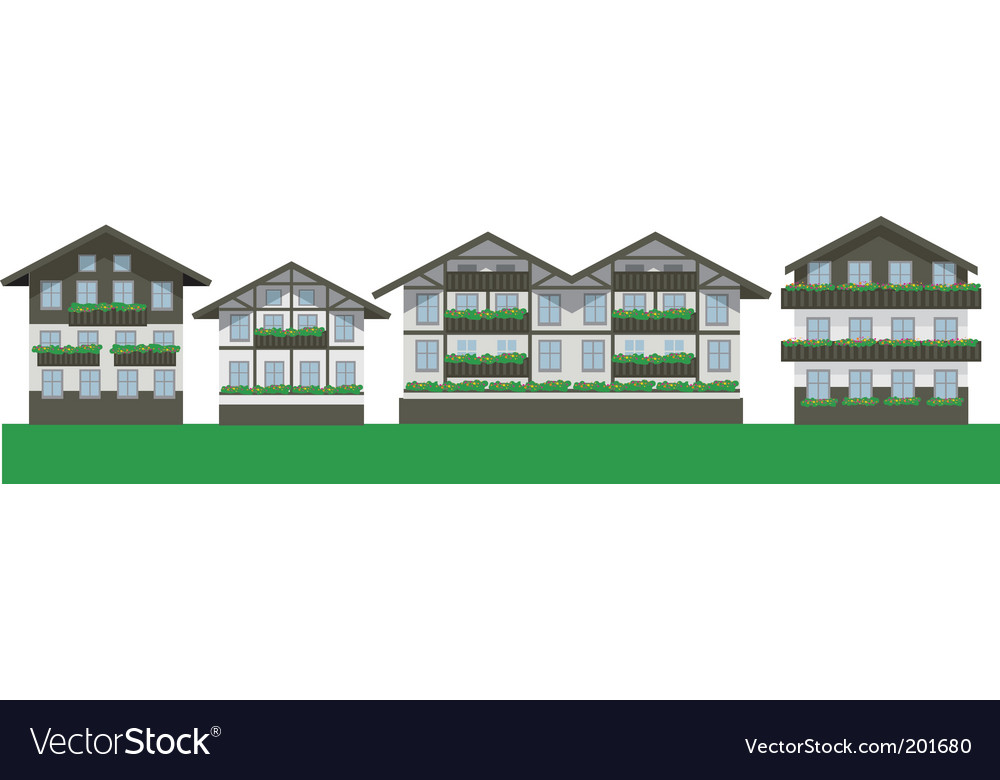 Swiss chalet houses vector | Price: 3 Credit (USD $3)