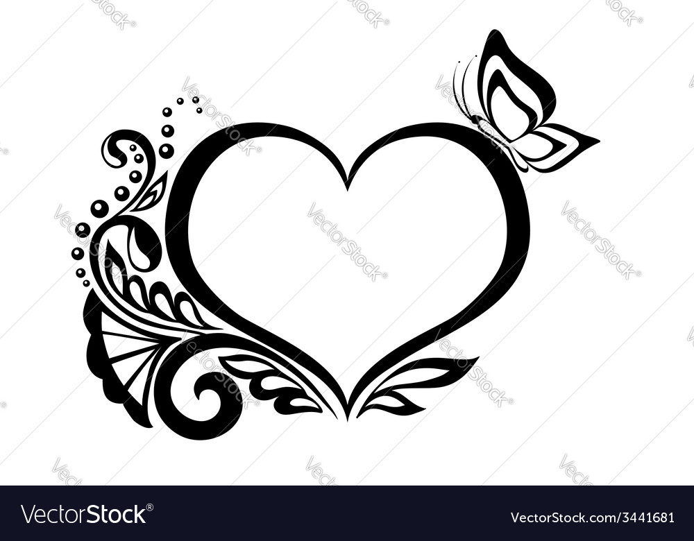 Black-and-white heart with floral design vector | Price: 1 Credit (USD $1)