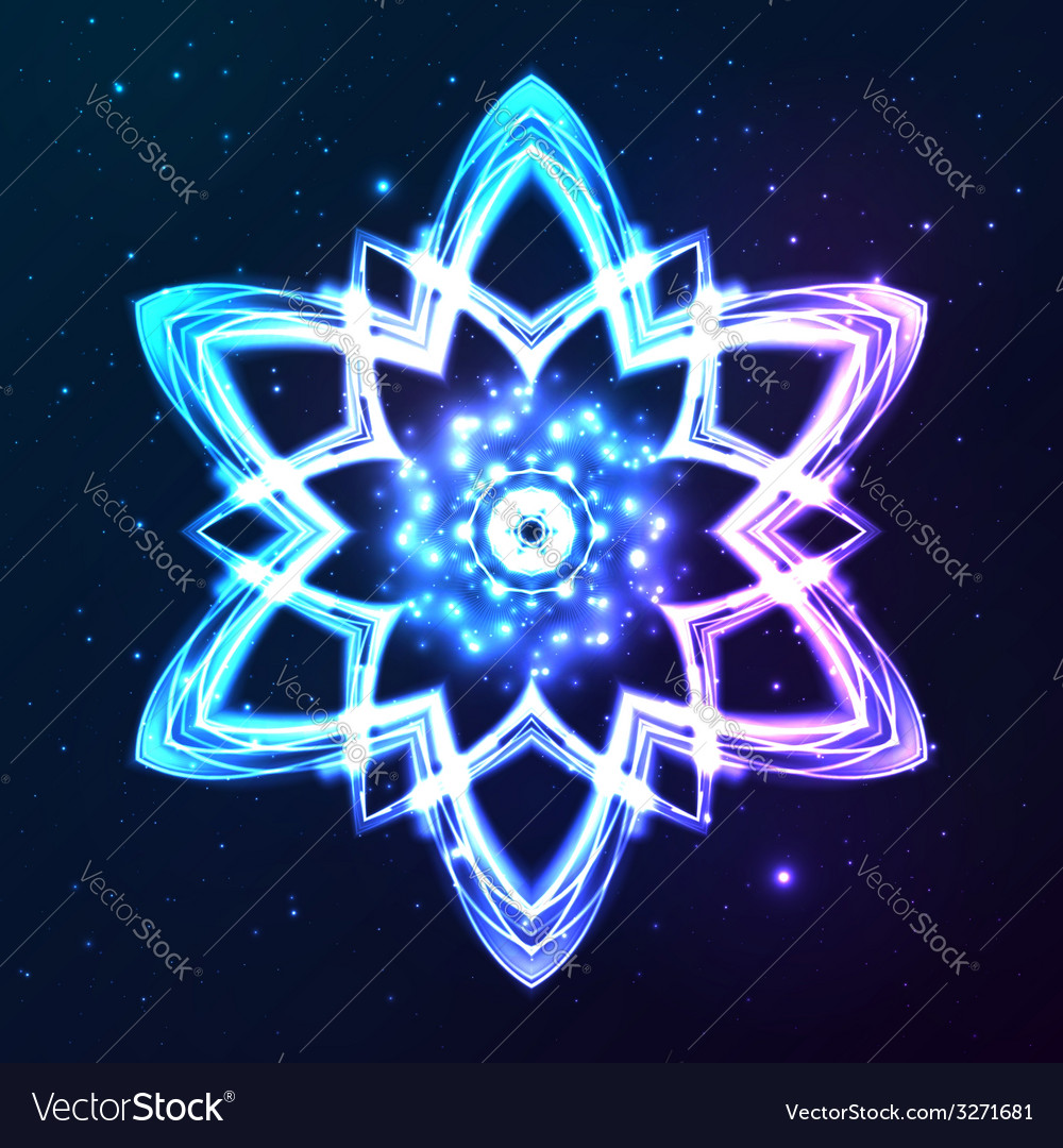 Blue shining cosmic abstract snowflake vector | Price: 1 Credit (USD $1)