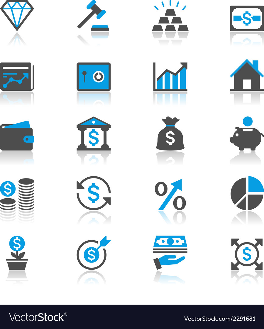 Business and investment flat with reflection icons vector | Price: 1 Credit (USD $1)