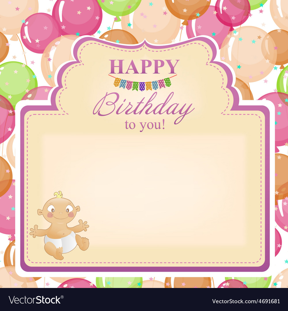 Childrens congratulatory background with a vector | Price: 1 Credit (USD $1)