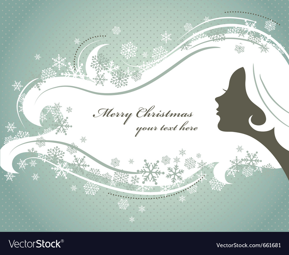 Christmas background with woman silhouette vector | Price: 1 Credit (USD $1)
