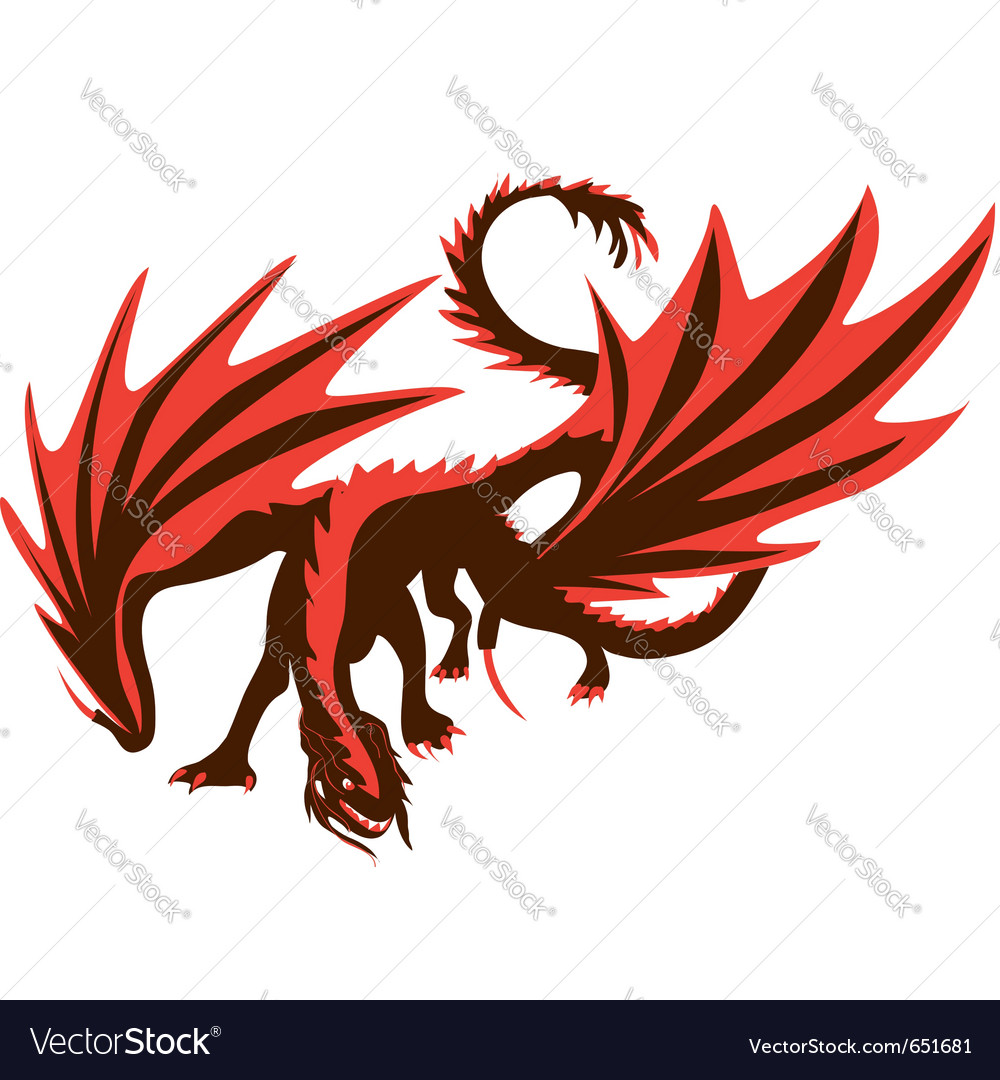 Fiery dragon red dragon vector | Price: 1 Credit (USD $1)